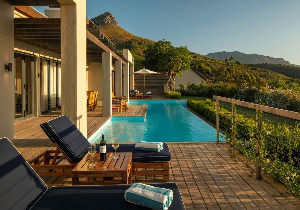 The Presidential Lodge 1 terrace and private pool overlooking the Stellenbosch Valley