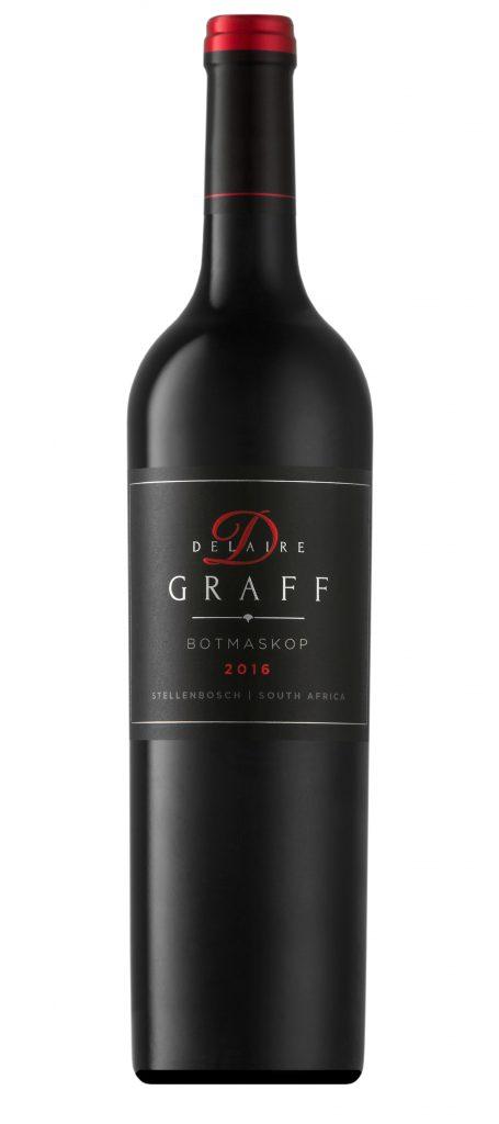 A bottle of Delaire Graff Botmaskop 2016 wine