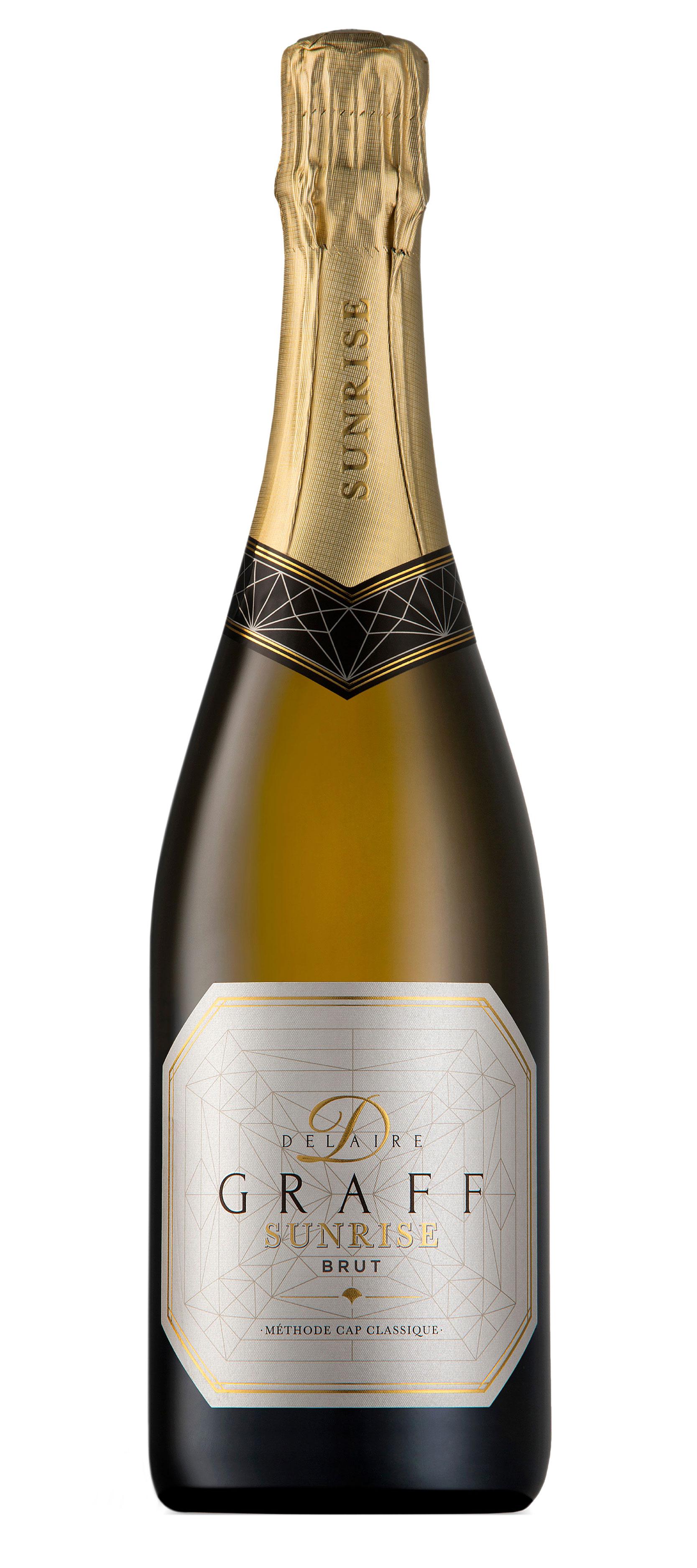 A bottle of Delaire Graff Sunrise Brut sparkling wine