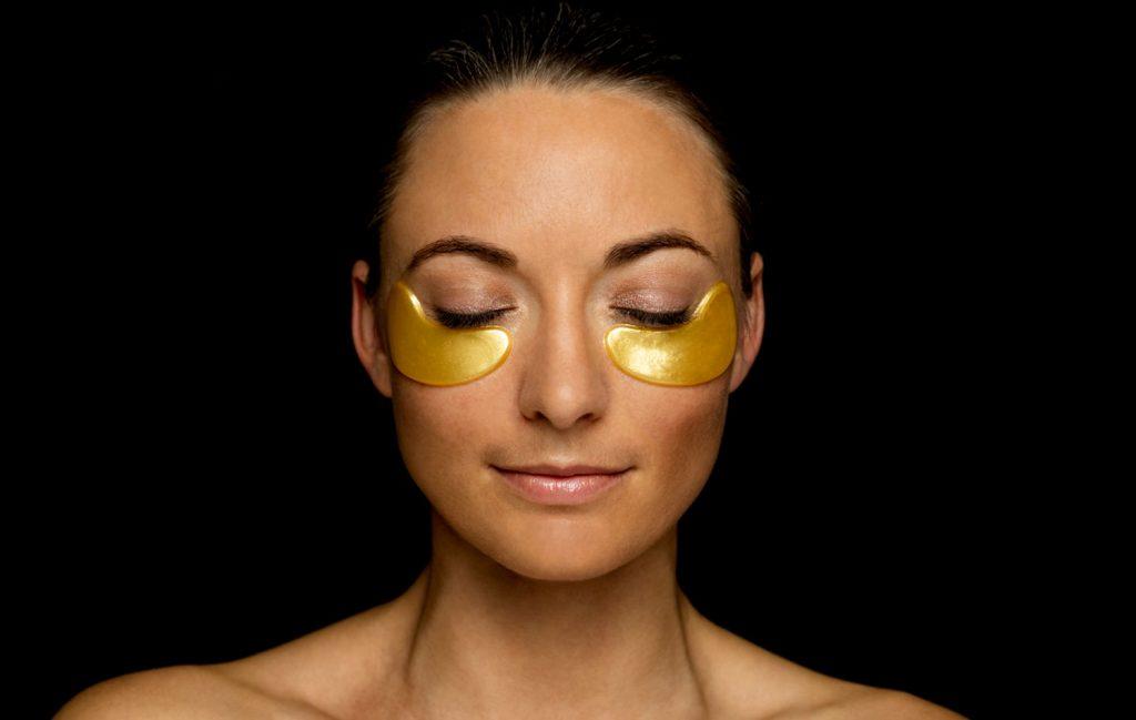 A lady enjoying a eye mask facial