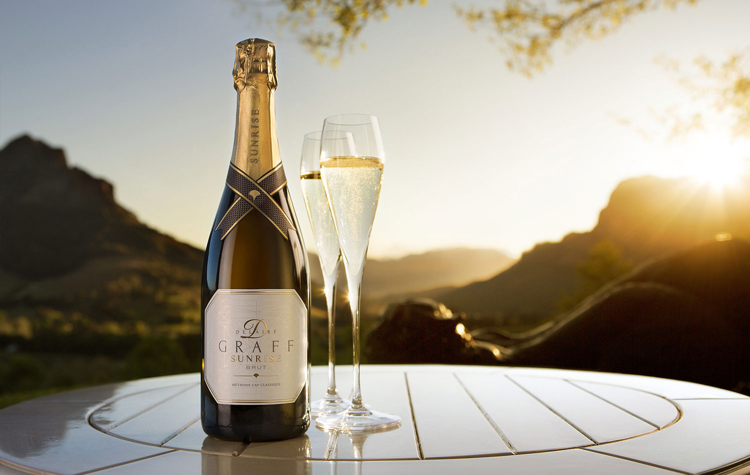 A bottle of Delaire Graff Sunrise Brut sparkling wine