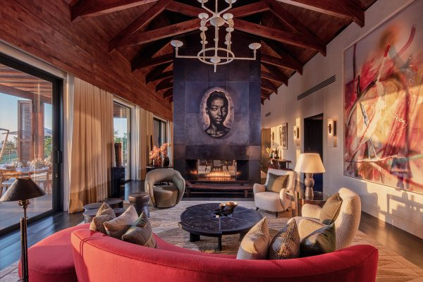 The Owner's Villa living room interior at Delaire Graff Estate designed by David Collins Studio